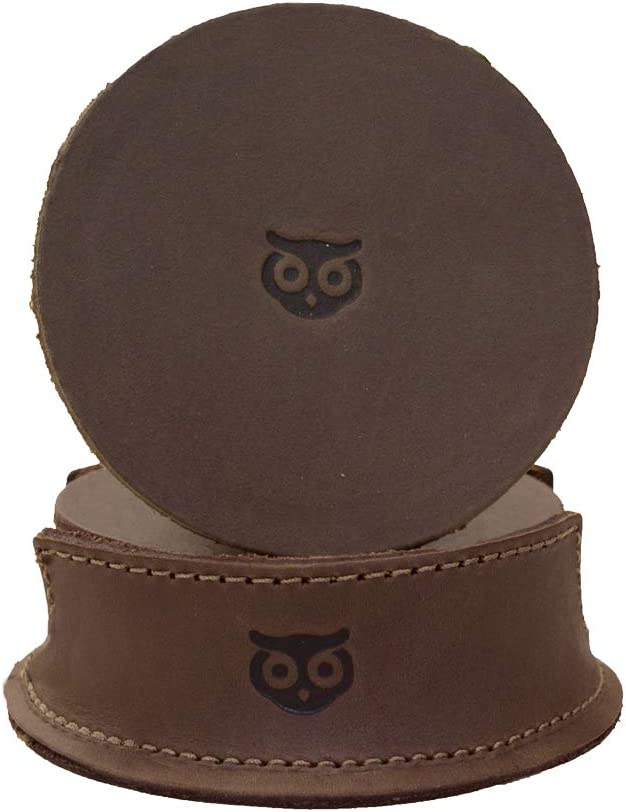 Hide & Drink, Durable Thick Leather Owl Coasters (6-Pack) Wood Furniture, Coffee & Kitchen Table, Stain Protection, Home & Office Essentials Handmade :: Bourbon Brown