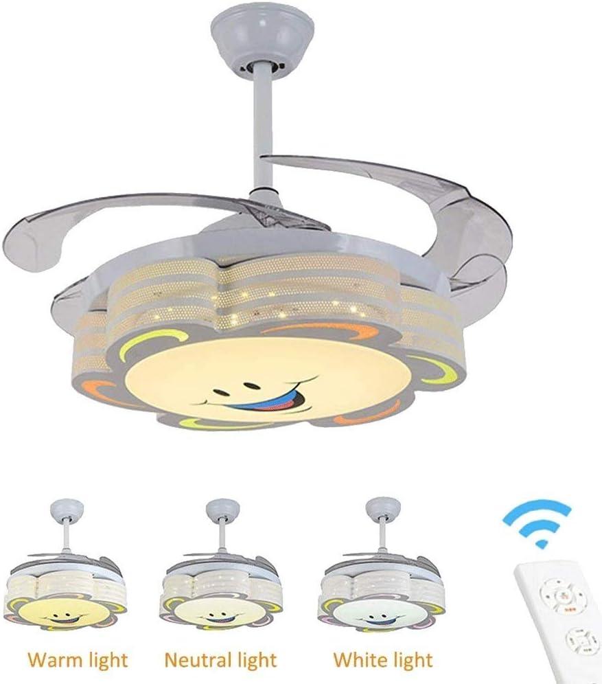 LAZ Luz LED Invisible del Ventilador, Cuarto de los niños Luces del Ventilador de Techo Regulables con Control Remoto Boy Girl Habitación de los niños Dormitorio Araña Iluminación Decoración