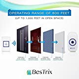 Bestrix Smart Wireless Doorbell with Receiver Operating at over 1,000-feet Range with 36 Chimes, Battery Included
