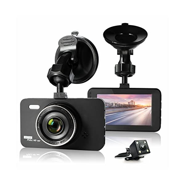"ULU SD10 Car Dash Cam 3.0"" FHD 1080P Front + Rear 290° Super Wide Angle Car DVR Dashboard Camera Recorder With Sony Video Sensor,NTK96655 Chipset,32GB Card,Night Vision,G Sensor,Loop Recording"