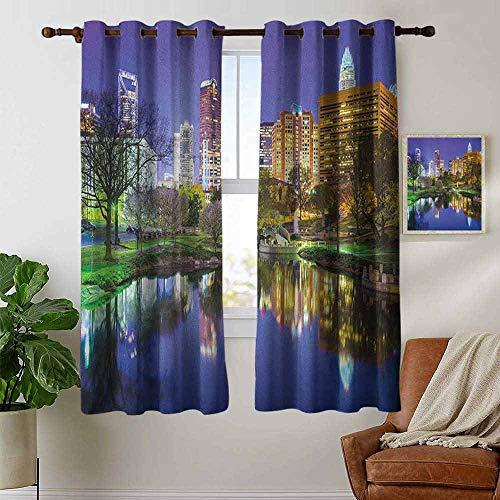 - petpany backout Curtains for Bedroom City,North Carolina Marshall Park United States American Night Reflections on Lake Photo, Multicolor,Pocket Thermal Insulated Tie Up Curtain 42