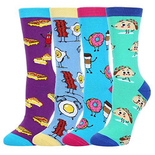 Women's Funny Novelty Crazy Food Crew Socks Emoji Taco Donuts Egg Grilled Cheese Cotton Socks, 4 Pack with Gift Box ()