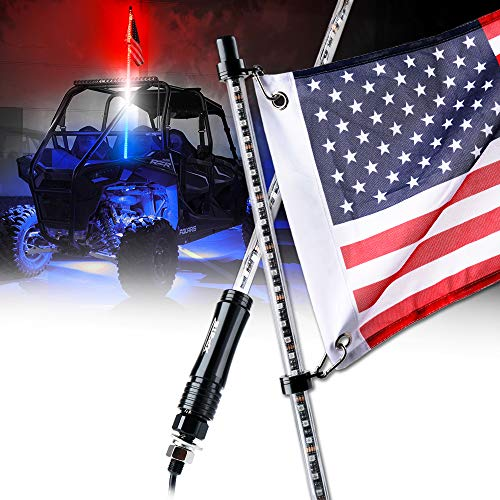Xprite 5ft (1.5M) LED Whip Lights Waterproof Flag Pole Safety Antenna with Flag for Offroad Jeep Sand Dune Buggy UTV ATV Polaris RZR 4X4 Truck (Red - White - Blue) (Jeep Buggy)