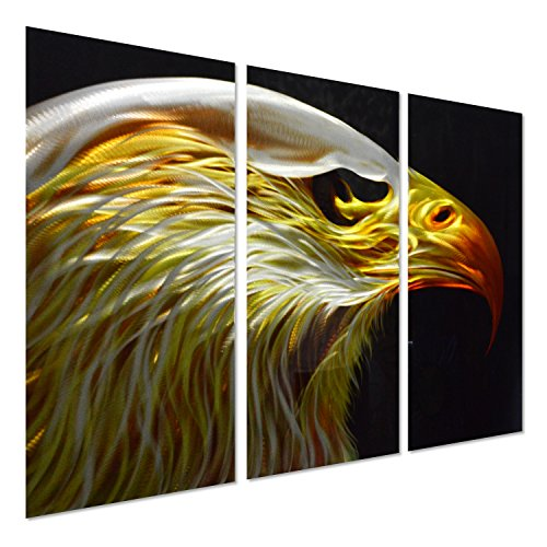 Bald Eagle Metal Wall Art - Modern Sculpture Comes 3 Panels of 24