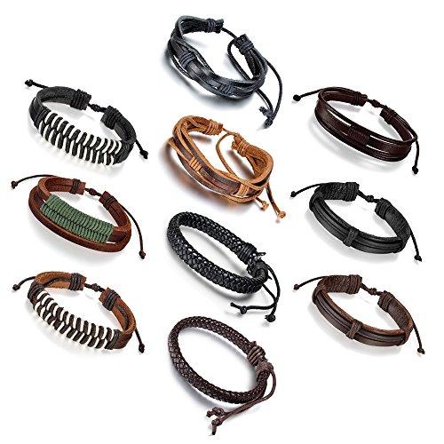 10 PCS Leather Bracelet, Leather Bracelets for Men, Handmade Vintage Bracelet Set 7-9 Inches Resizable