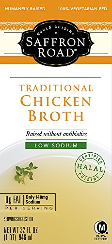 Saffron Road Traditional Chicken Broth with Low Sodium, Gluten-Free, Halal, 32 Ounce (Pack of 12)