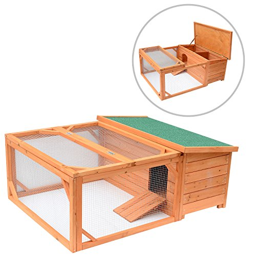 Pawhut Small Wooden Bunny Rabbit & Guinea Pig / Chicken Coop w/ Outdoor Run by PawHut (Image #3)