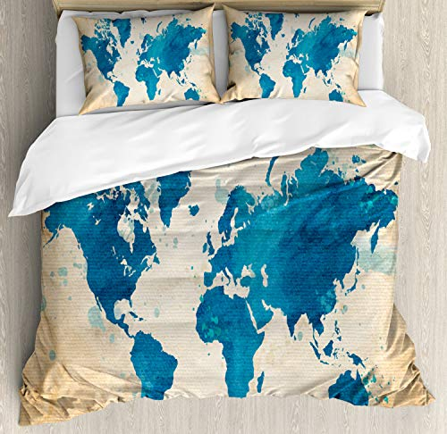 Ambesonne Map Duvet Cover Set King Size, Artistic Vintage World Map with Watercolor Brushstrokes on Old Backdrop Print, Decorative 3 Piece Bedding Set with 2 Pillow Shams, Navy Blue Sand Brown ()