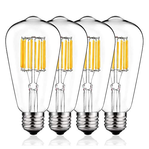 Vintage LED Edison Bulb 100W Equivalent, DORESshop No Dimmable 10W ST64(ST21) Antique Led Filament Light Bulb, Warm White 2700K, E26 Base Squirrel-Cage Antique Lamp for Home Decor, Reading Room, 4Pack