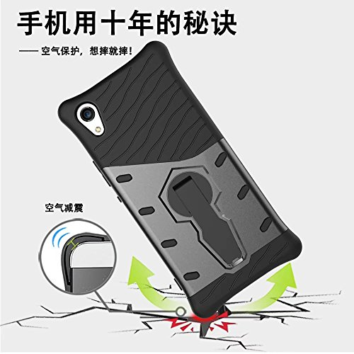YHUISEN Sony XA1 Case, Hybrid Tough Rugged Dual Layer Rüstung Schild Schützende Shockproof mit 360 Grad Einstellung Kickstand Case Cover für Sony Xperia XA1 ( Color : Biue )