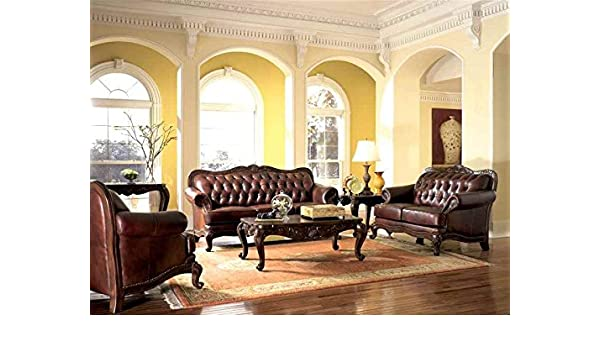Amazon.com: Victorian Style Leather Sofa, Love Seat & Chair Set ...