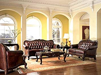 Victorian Style Leather Sofa, Love Seat U0026 Chair Set