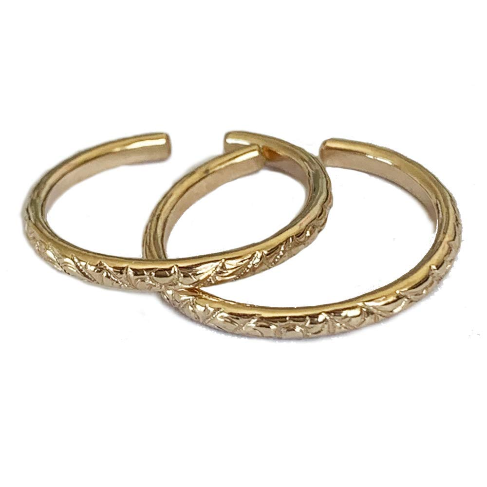 Toe Rings Two Rings Gift Pack | Hawaiian Breeze 14K Gold Fill Adjustable Ring | for Toe Or Midi | One Size Fits Most | Buy Two; Give One, Get One! | Beautiful Island Beach Design by Toe Rings and Things