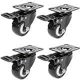 4 Brakes Caster Wheels 1'' LockingSwivel WheelsLow Profile Threaded Stem Mount Industrial Castors with 360 Degree Swivel PlateHeavy Duty-Bearing230lb Per Roll (4 Brake Wheels-US Stock)