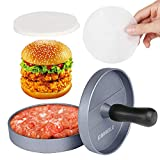GWHOLE Non-Stick Burger Press Aluminum Hamburger Maker with 100 Wax Papers for BBQ