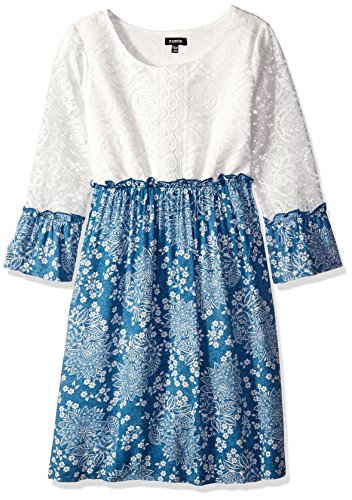 ZUNIE Girls' Big 3/4 Sleeve Lace to Challis Boho Dress, Ivory/Denim, Medium