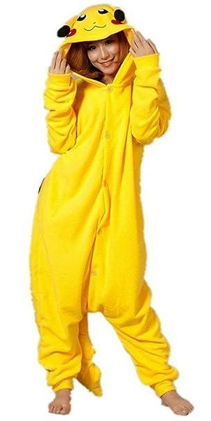 Traje Traje de Pikachu Adultos Hombres Mujeres Pijama Pijama ...