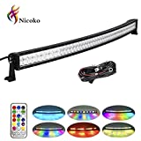 jeep 50 inch light bar bracket - Nicoko Multi-color 5D Cree LED Light Bar Curved 50Inch 288W Flood Spot Combo Light 10 Solid Colors changing over 80 kinds Chasing Modes Remote Control for Off Road Jeep Trucks wiring Harness