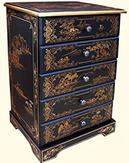 Five Drawer Oriental lacquerware Cabinet