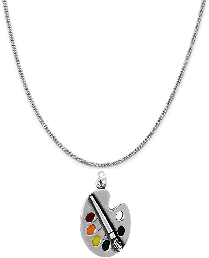Raposa Elegance Sterling Silver Paintbrush Pallete Charm on a 16 Curb Chain Necklace