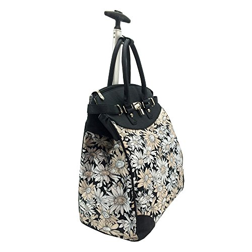 Daisy Sunflower Rollie Rolling Tote (Foldable)