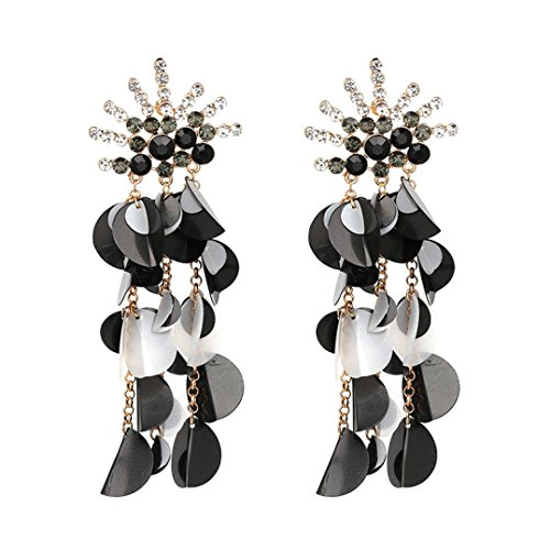 2018 Hot Sale! Challyhope Women Party Gorgeous Sequins Long Earrings Fashion Crystal Statement Jewelry Earrings Dangle Ear Drop (Black, Alloy, crystal)