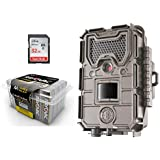 Game Camera Bundle 3 Items | Bushnell Essential E3 TAN + Rayovac AA Battery 24 PK + 32 GB SD Card | 16 MP | 720p HD Video | Night Vision 100 FT Flash Range .3 Trigger Speed