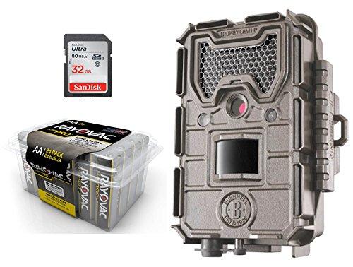 Game Camera Bundle 3 Items | Bushnell Essential E3 TAN + Rayovac AA Battery 24 PK + 32 GB SD Card | 16 MP | 720p HD Video | Night ()