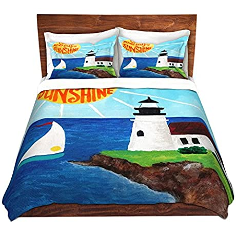 DiaNoche Designs Sunshine Lighthouse Cover Brushed Twill Twin Queen 8 King Duvet Sham Set