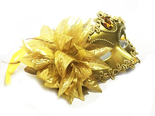 Womens Mysterious Costumes Masquerade (Women Costume Mask with Flower,Sexy Mysterious Masquerade Mask Halloween Mardi Gras Cosplay Party Masque)