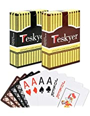 Teskyer Playing Cards, 100% Waterproof Plastic Playing Cards, Poker Size, Large Printed Number Jumbo Index, 2 Decks of Cards, for Outdoor, Pool, Camping