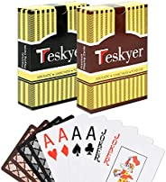 Teskyer Playing Cards, 100% Waterproof Plastic Playing Cards, Poker Size, Large Printed Number Jumbo Index, 2
