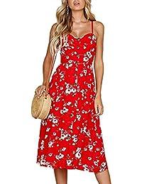 Women's Dresses-Summer Floral Bohemian Spaghetti Strap Button Down Swing Midi Dress Pockets