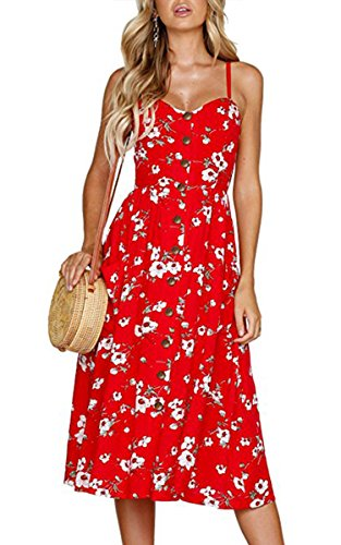Angashion Women's Dresses-Summer Floral Bohemian Spaghetti Strap Button Down Swing Midi Dress with Pockets 0860 Red M