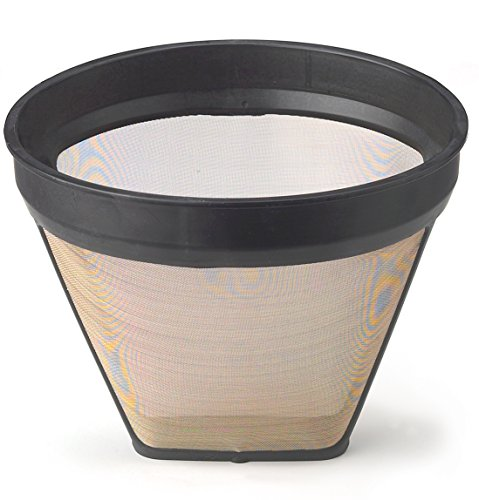 HIC Gold Tone Reusable Coffee Filter, Number 2-Size Filter, Brews 2 to 6-Cups by HIC Harold Import Co.