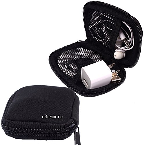 Black Universal Neoprene Zipper Headphone Headset Dock Charger Cable Organizer Electronics Accessories Case Various USB, Mp3, Charge, Cable organizer Pouch