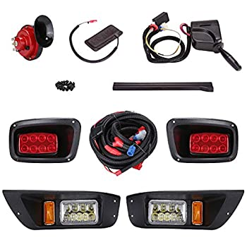 Image of 10L0L Golf Cart Led Headlight and Tail Light Kit for 1996-2015 EZGO TXT Carts with Turn Signals Switch Horn Brake Lights Harness(Must Input 12 Volts) Golf Cart Accessories
