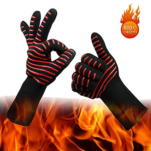 Wesoke Professional Heat Resistant Gloves, Extreme Kevlar Fire Proof Mittens with Forearm Protection, Nomex Gloves 1472°F Degree Heat Resistance for Grilling/Welding/Kitchen Cooking/Oven/BBQ, 1 Pair (Gloves Kevlar Nomex)