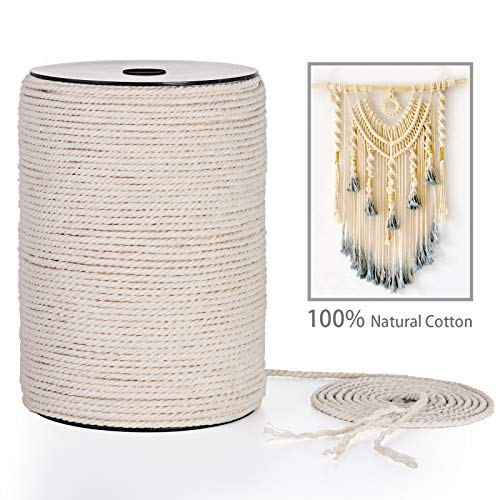 Macrame Cord 3mm x 220Yards AQUEENLY 100% Natural Macrame Rope for Plant Hanger, Wall Hanging, Table Runner and Other All Macrame Projects, 3 Strand Twisted Soft Cotton Cord