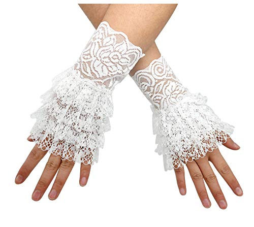 (L'VOW Women's Gothic Lace Mesh Stretch Wrist Cuffs Bracelets For Wedding Party Pack of 2 (X01-White))