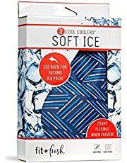 """Fit & Fresh 10300FF Soft Cool, Set of 2 Flexible Ice Packs for Lunch Bags and Coolers, Navy Sketch Weave & Blue, 4.75"""" x 0.25"""" x 7.5"""