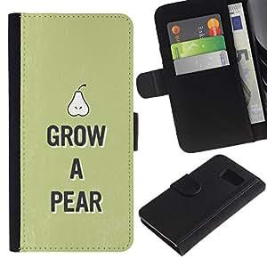 iKiki Tech / Cartera Funda Carcasa - Pear Raw Food Fruit Healthy Green Lifestyle Eco - Samsung Galaxy S6 SM-G920