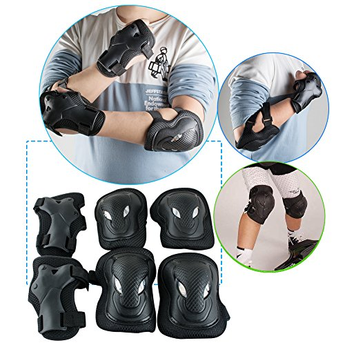 vinmax Crash-proof Children Kids Sports Protective Gear Set Safety Pad Safeguard Adjustable Knee Elbow Wrist Braces Pads Kit 6 pcs for Skateboard Cycling Rollerblading Skating Volleyball by by vinmax