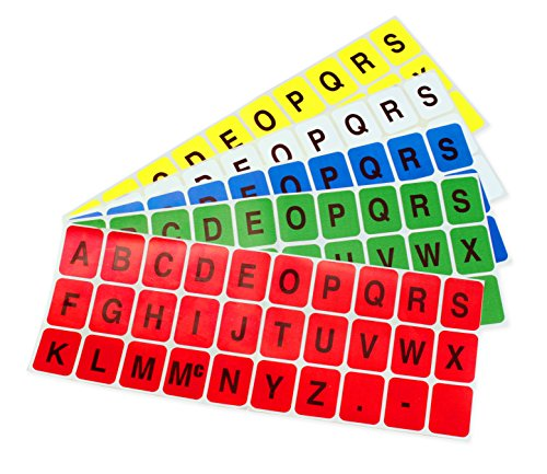 ChromaLabel 1 x 3/4 inch Alphabet Stickers | 5 Assorted Colors | 10 Sheets/Variety Pack Alpha Numeric Labels Color