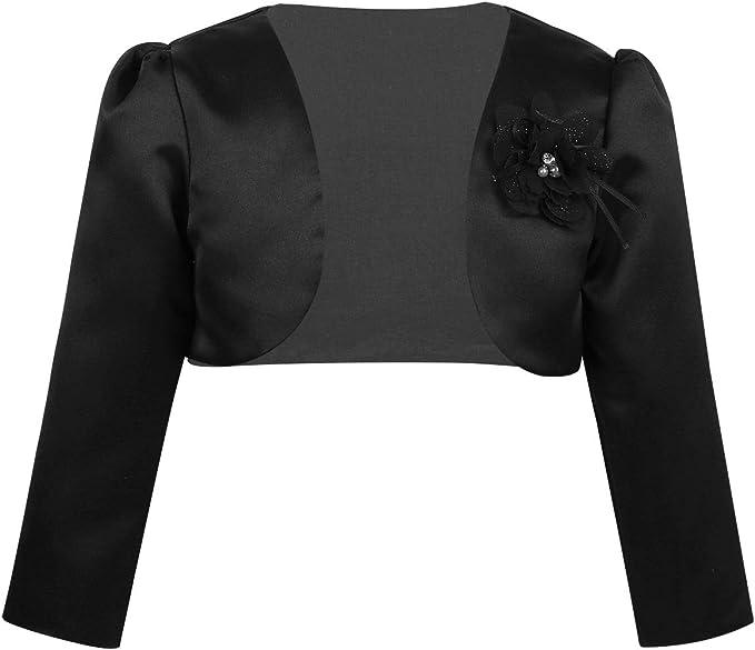 Agoky Kids Girls Long Sleeves Bolero Wedding Bridesmaid Jacket Shrug Short Cardigan