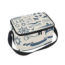 Saobao - Bolsa de almuerzo con aislamiento reutilizable, estilo clásico náutico, con correa para el hombro, ideal para la escuela, la oficina, viajes, al aire última intervensión
