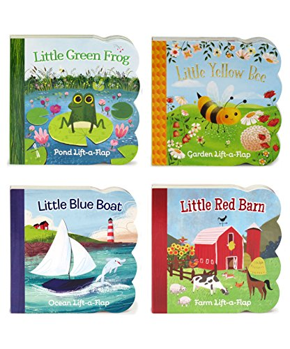 (4 Pack Chunky Lift a Flap Board Books: Little Red Barn/ Little Blue Boat/Little Green Frog/Little Yellow Bee)