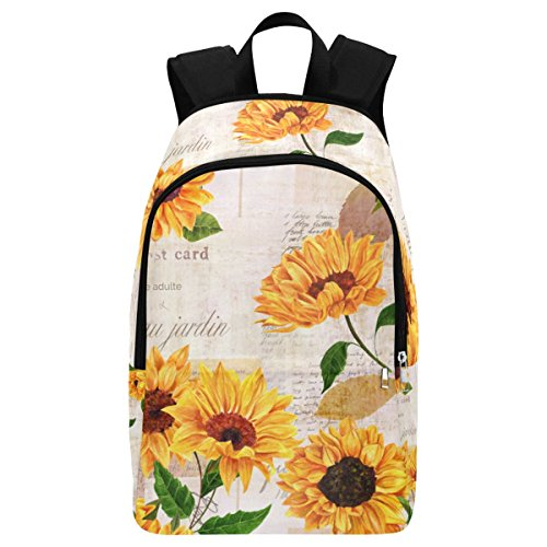 InterestPrint Custom Vintage Newspaper Summer Sunflower Casual Backpack School Bag Travel Daypack