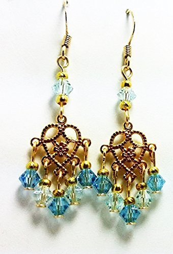 Mini Heart Chandelier Aqua Austrian Crystals Dangle Earrings - 50 Shades of (Boutique Mini Chandeliers Light)