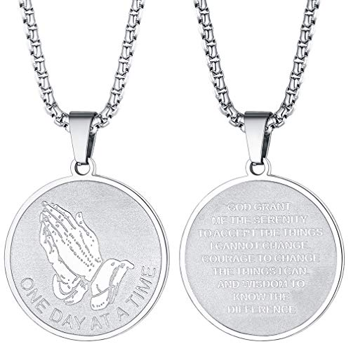 Necklaces Mens Religious - FaithHeart Praying Hand Baptism Necklace for Men Women Religious Pendant with 3mm Box Chain, Stainless Steel Round Jewelry Customize Available